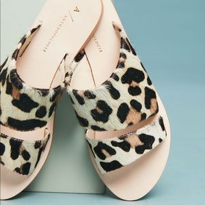 Anthropologie Classic Leopard Slide Sandals